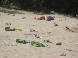 Посетителей пляжа призывают доносить мусор до контейнеров