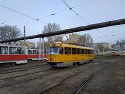 На трамвайный маршрут вышел перекрашенный москвич