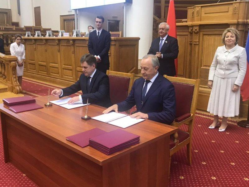 Радаев подписал соглашение осотрудничестве между правительствами Саратовской области и Республики Беларусь